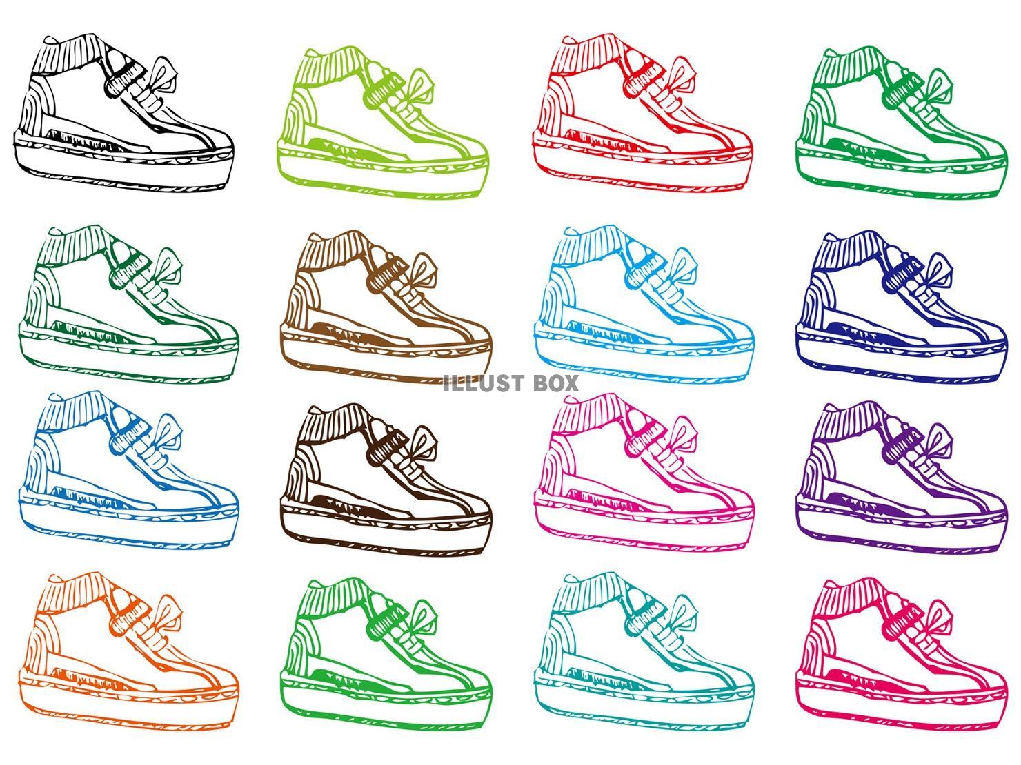 無料イラスト 運動靴スニーカー手書きイラスト素材背景,壁紙子供