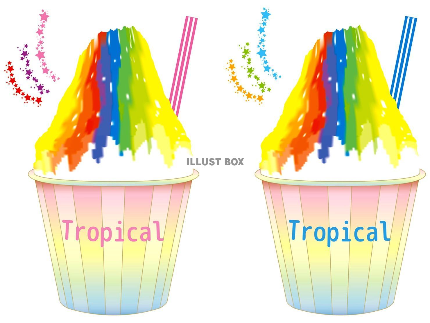 無料イラスト カキ氷かき氷かきごおり氷菓アイストロー紙コップ