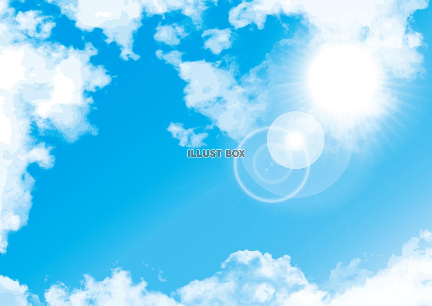 無料イラスト 青空白い雲季節初夏ポスター夏ブルー背景ポップ
