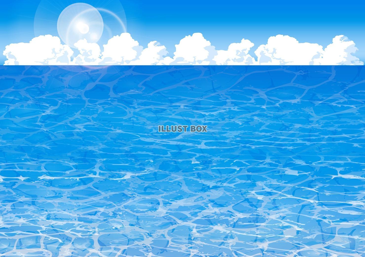 無料イラスト 青空入道雲海波模様背景素材壁紙残暑見舞いグアム島透明な