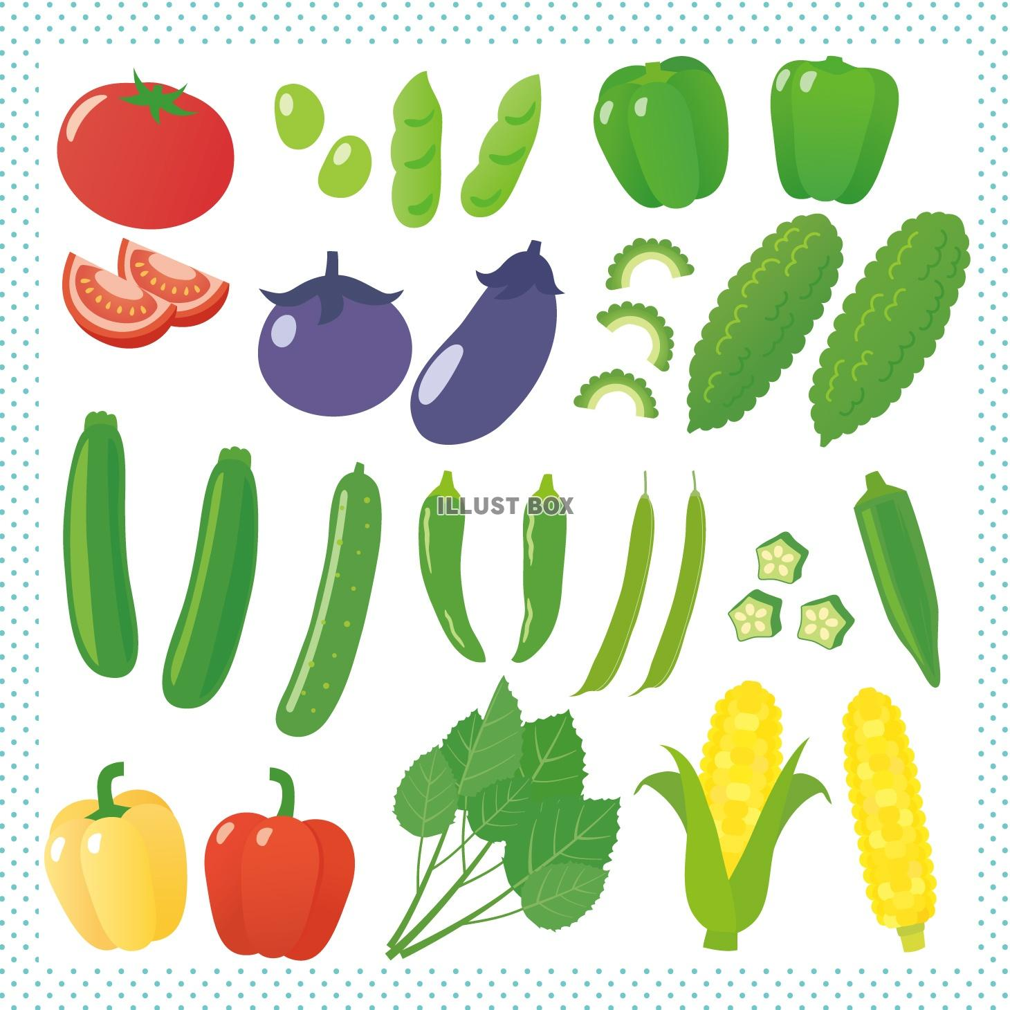 無料イラスト 夏野菜の詰め合わせ