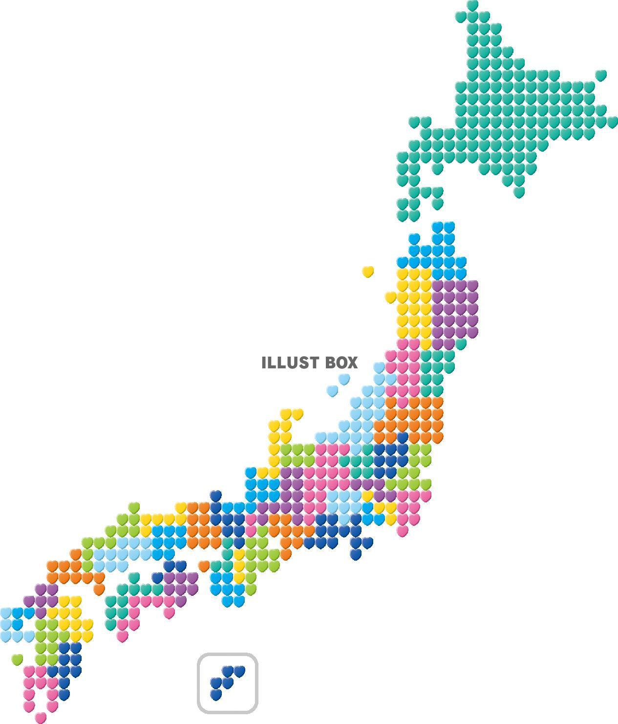 無料イラスト 日本地図 ハート