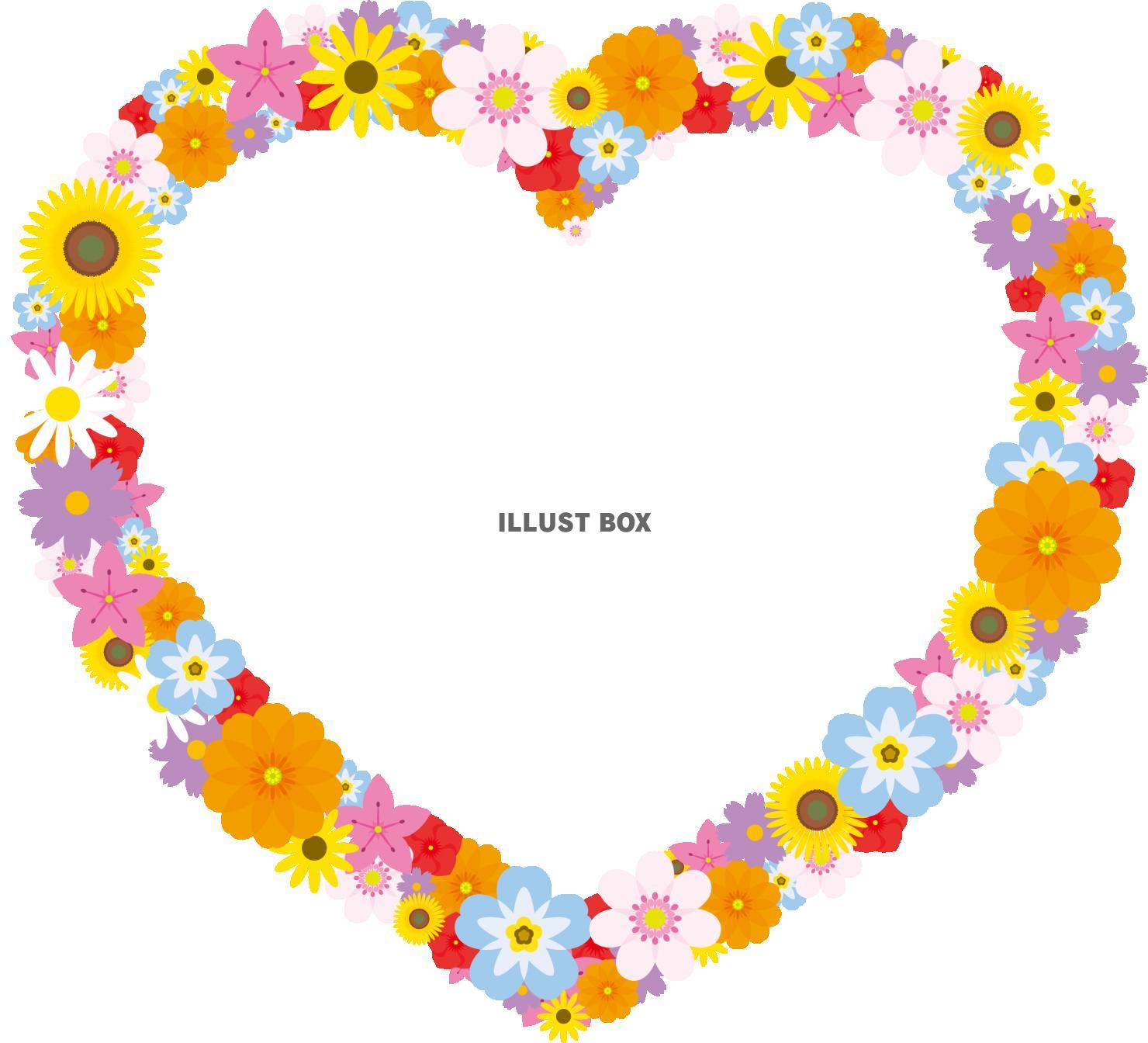 無料イラスト 花のフレーム ハート