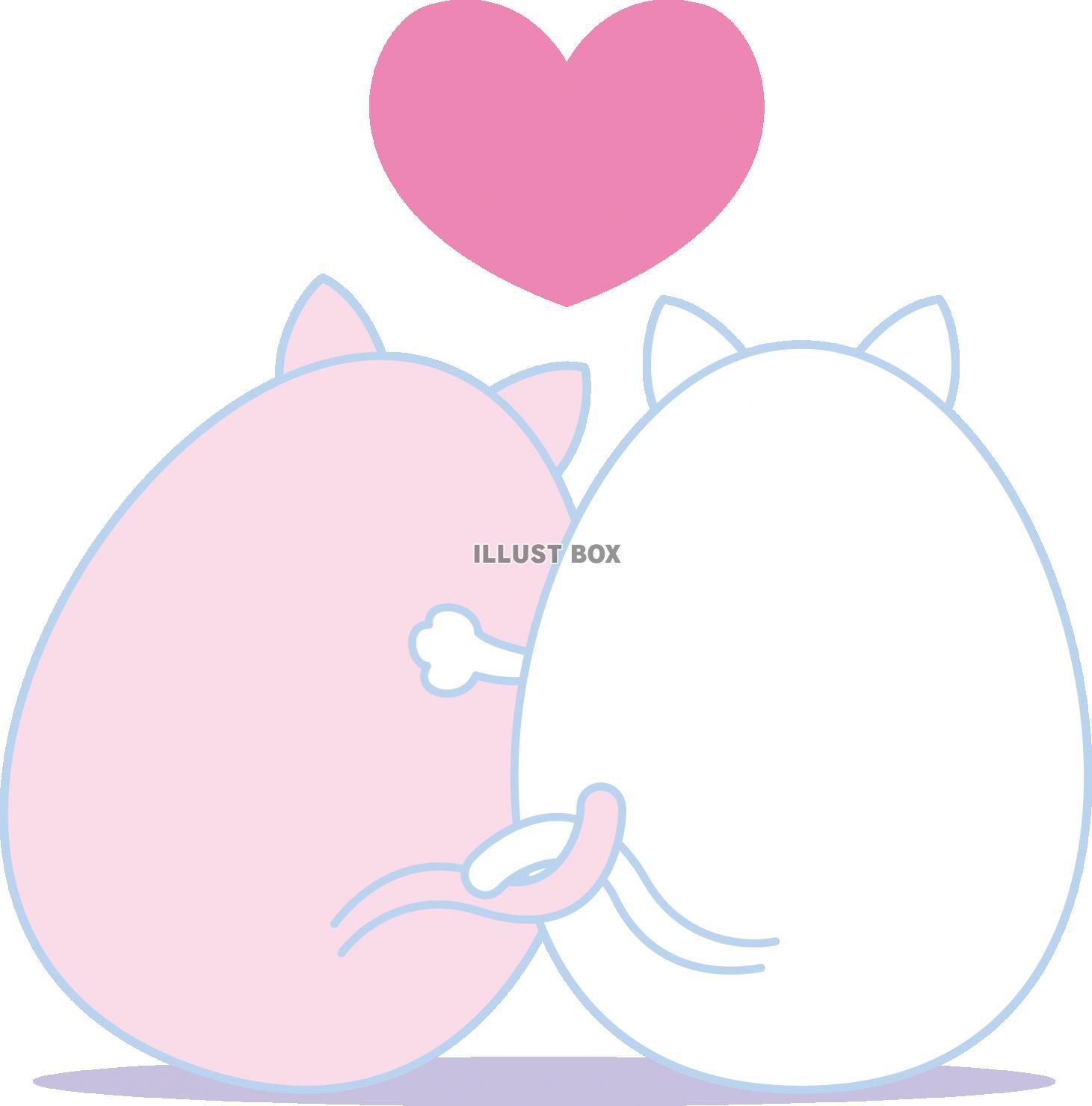 無料イラスト 動物 キャラクター ネコのカップル