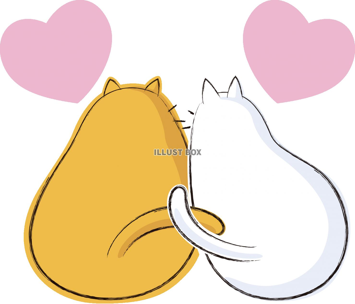 無料イラスト 可愛いネコ キャラクター カップル