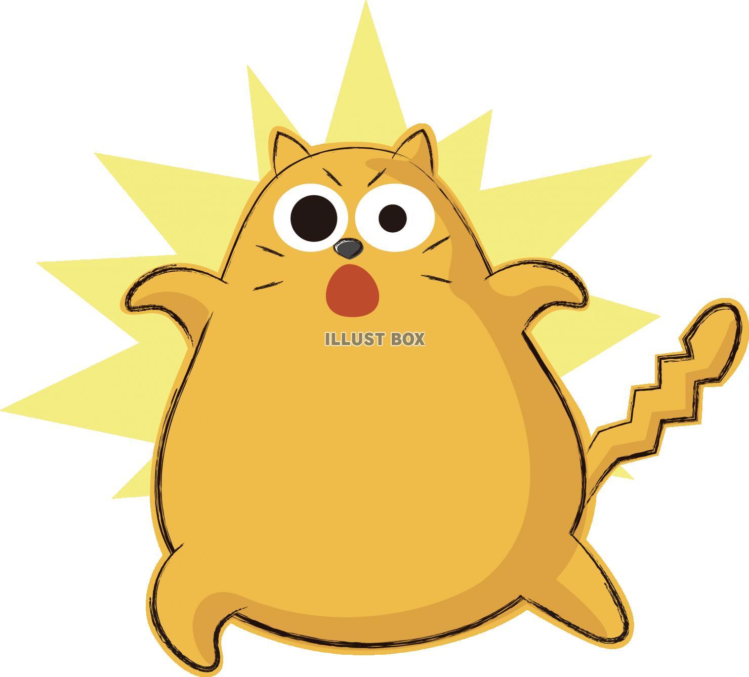 無料イラスト 可愛いネコ キャラクター ビックリ