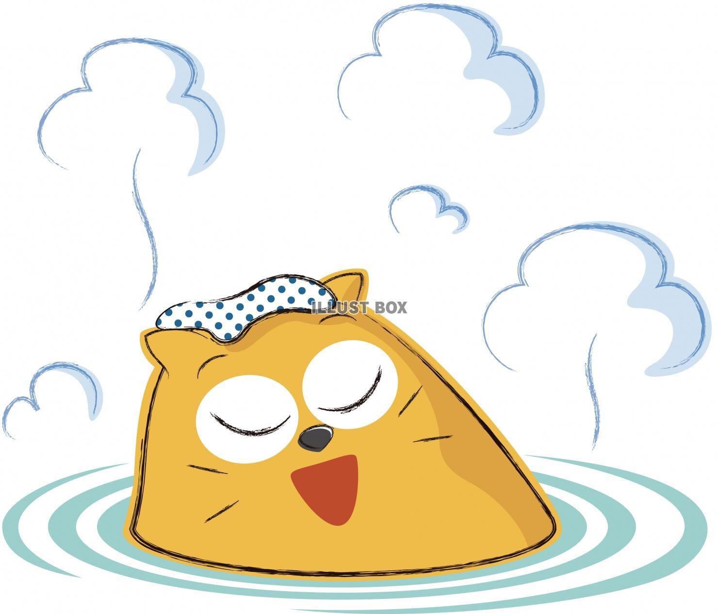 無料イラスト 可愛いネコ キャラクター 温泉