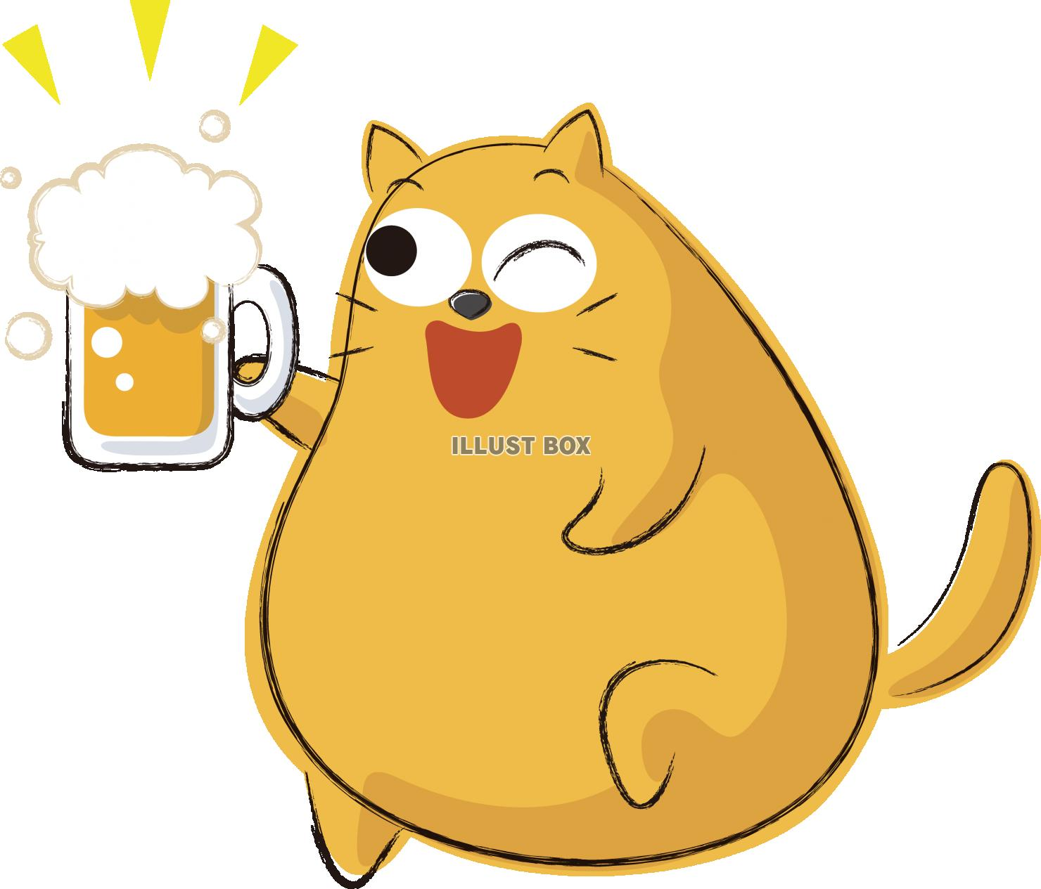 無料イラスト 可愛いネコ キャラクター ビール