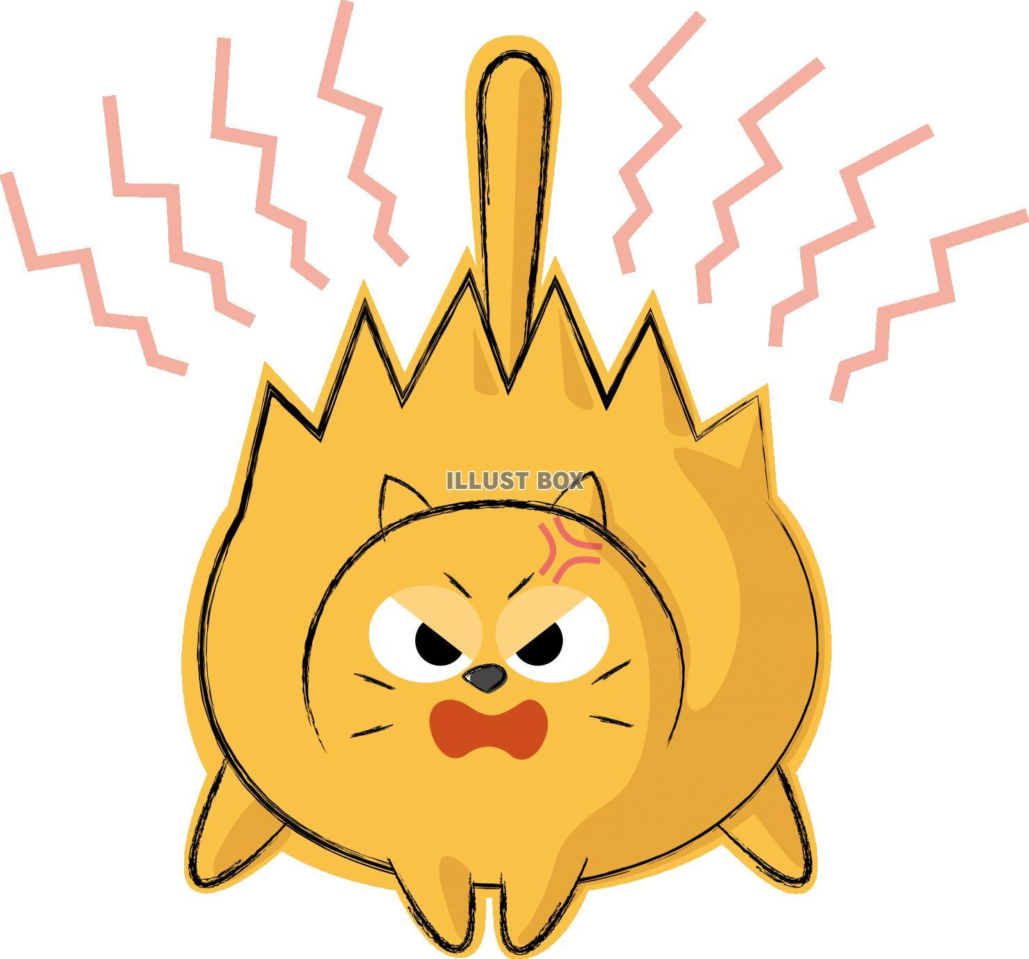 無料イラスト 可愛いネコ キャラクター 威嚇