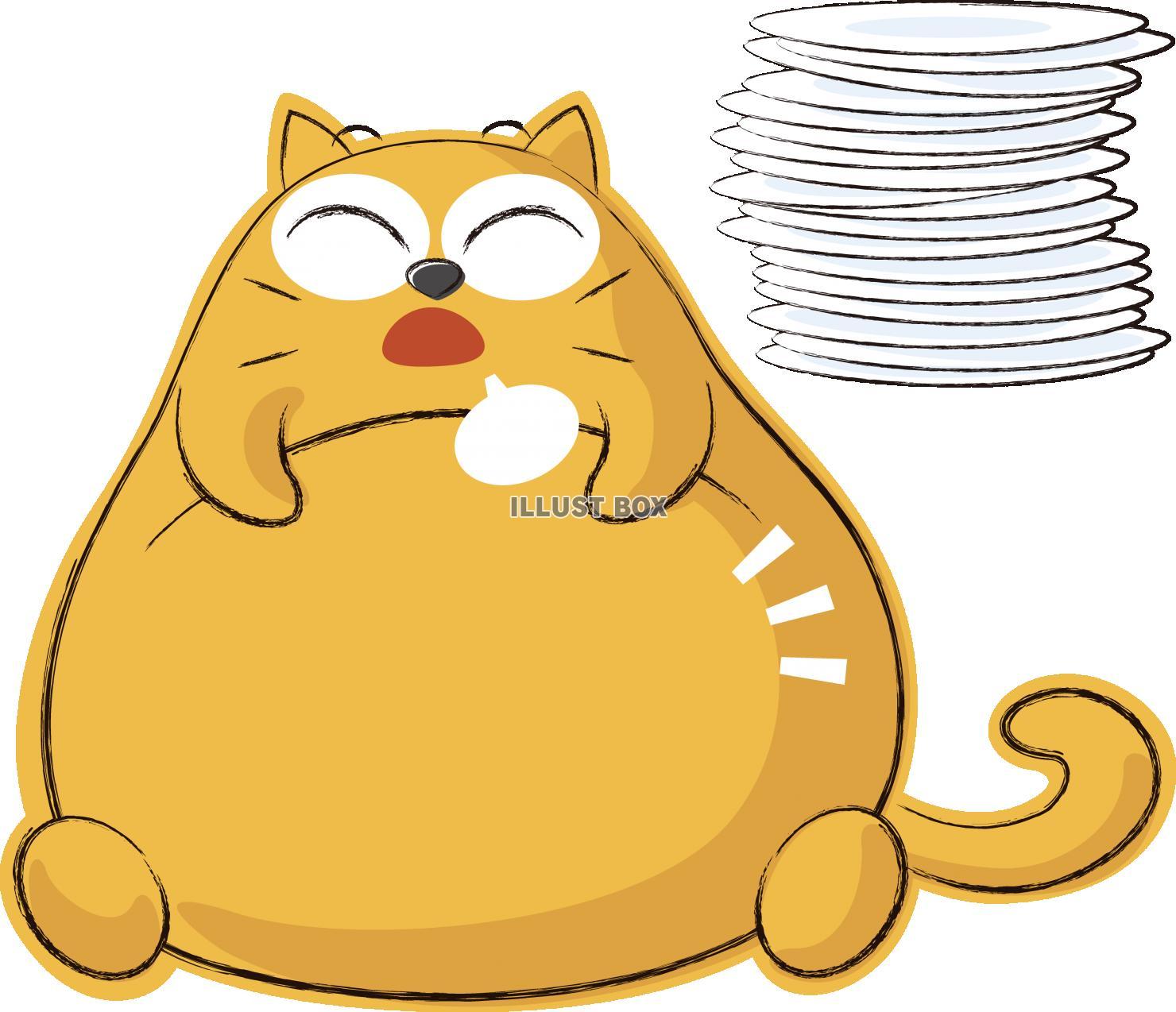 無料イラスト 可愛いネコ キャラクター 満腹