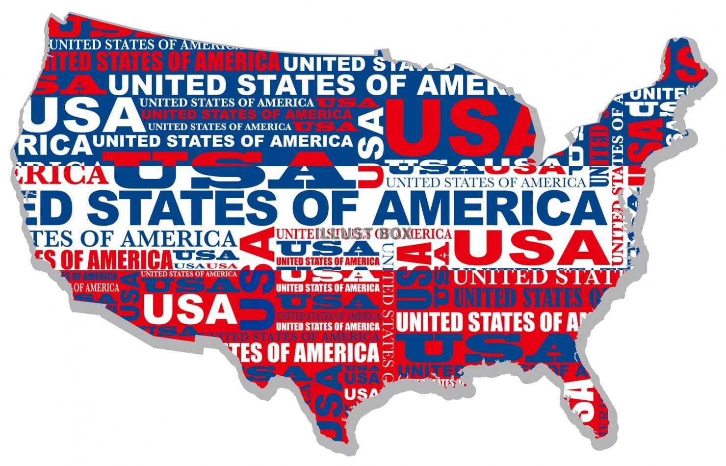 無料イラスト アメリカ合地図のイラストレーション