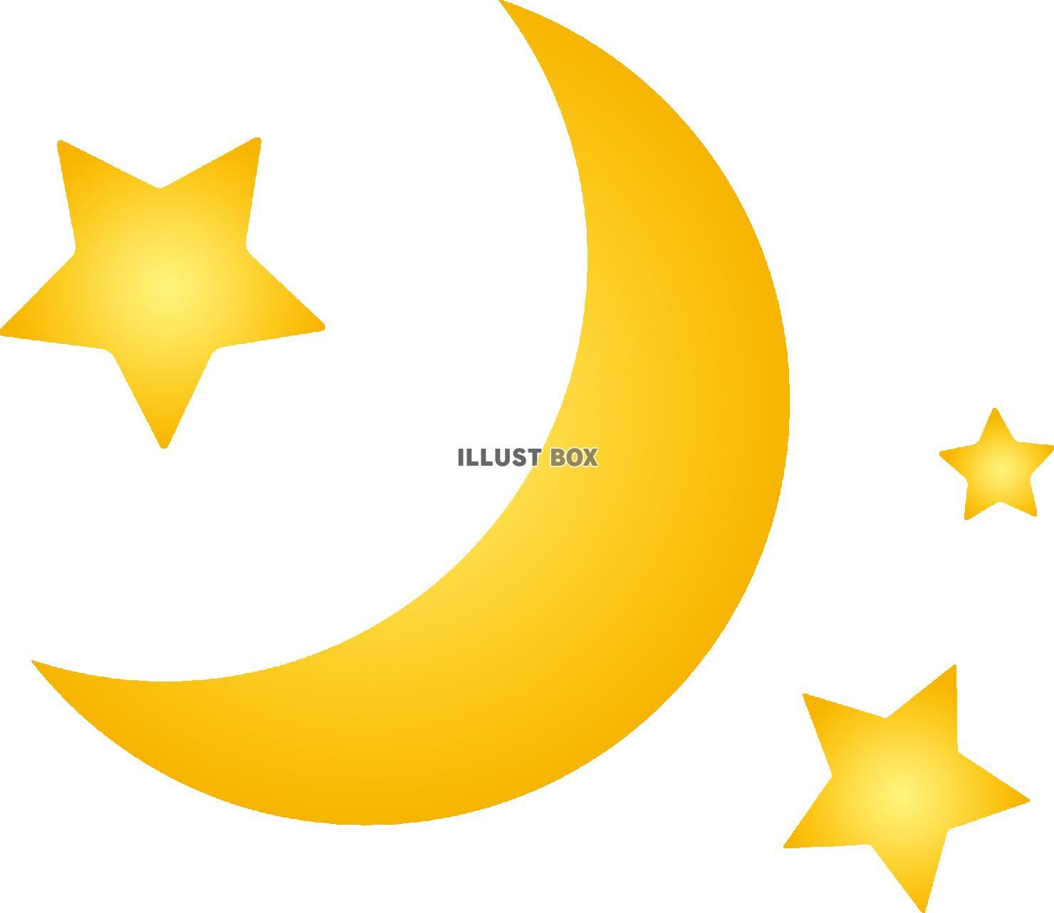 無料イラスト 月と星