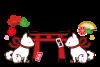 2018年戌年年賀状素材・鳥居と狛犬