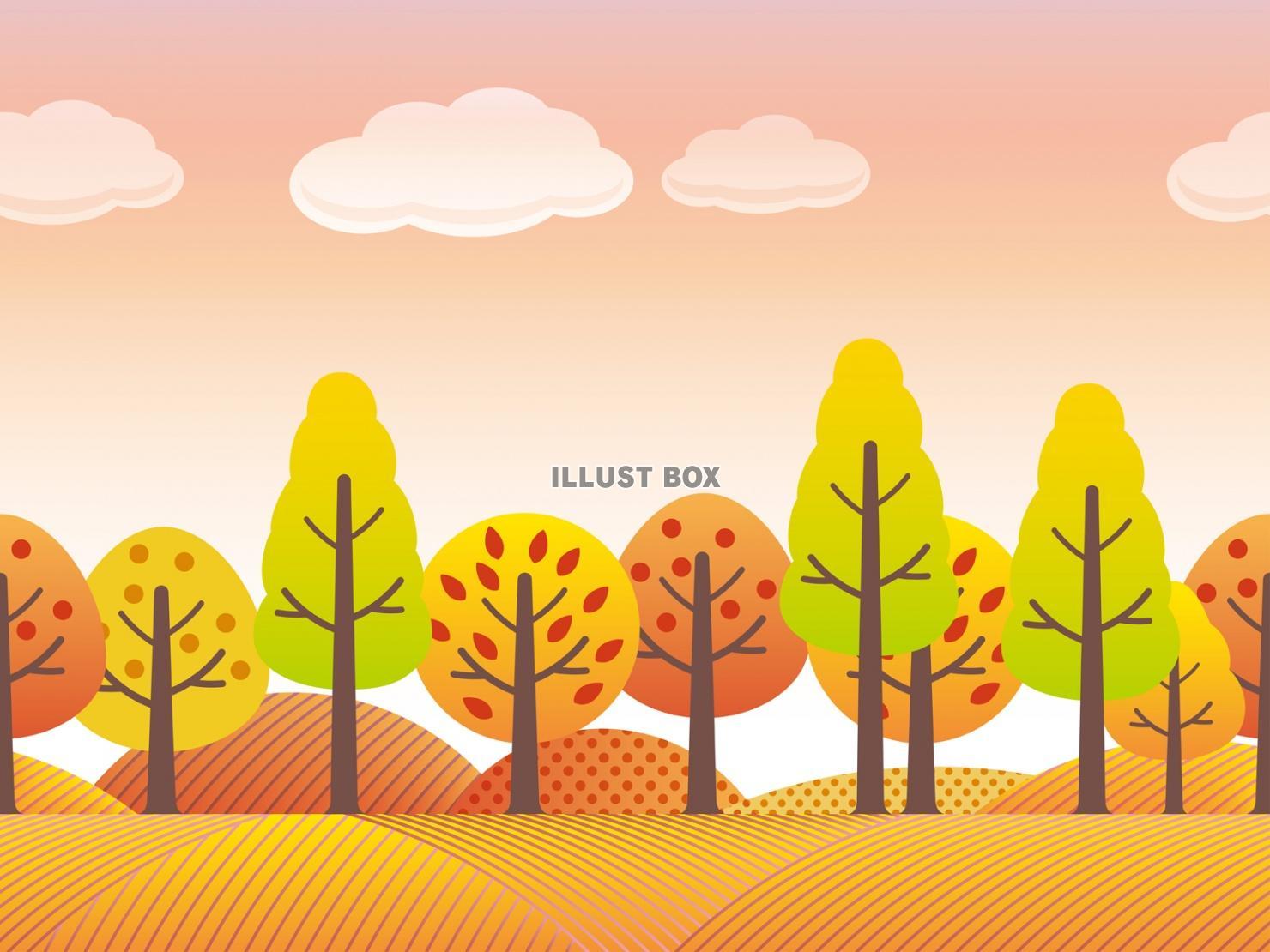 無料イラスト 秋の風景1 シームレスな田園のイラスト