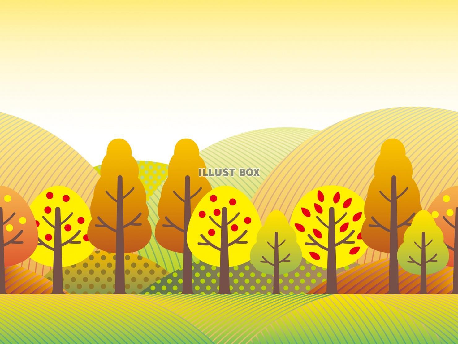 無料イラスト 秋の風景2 シームレスな田園のイラスト