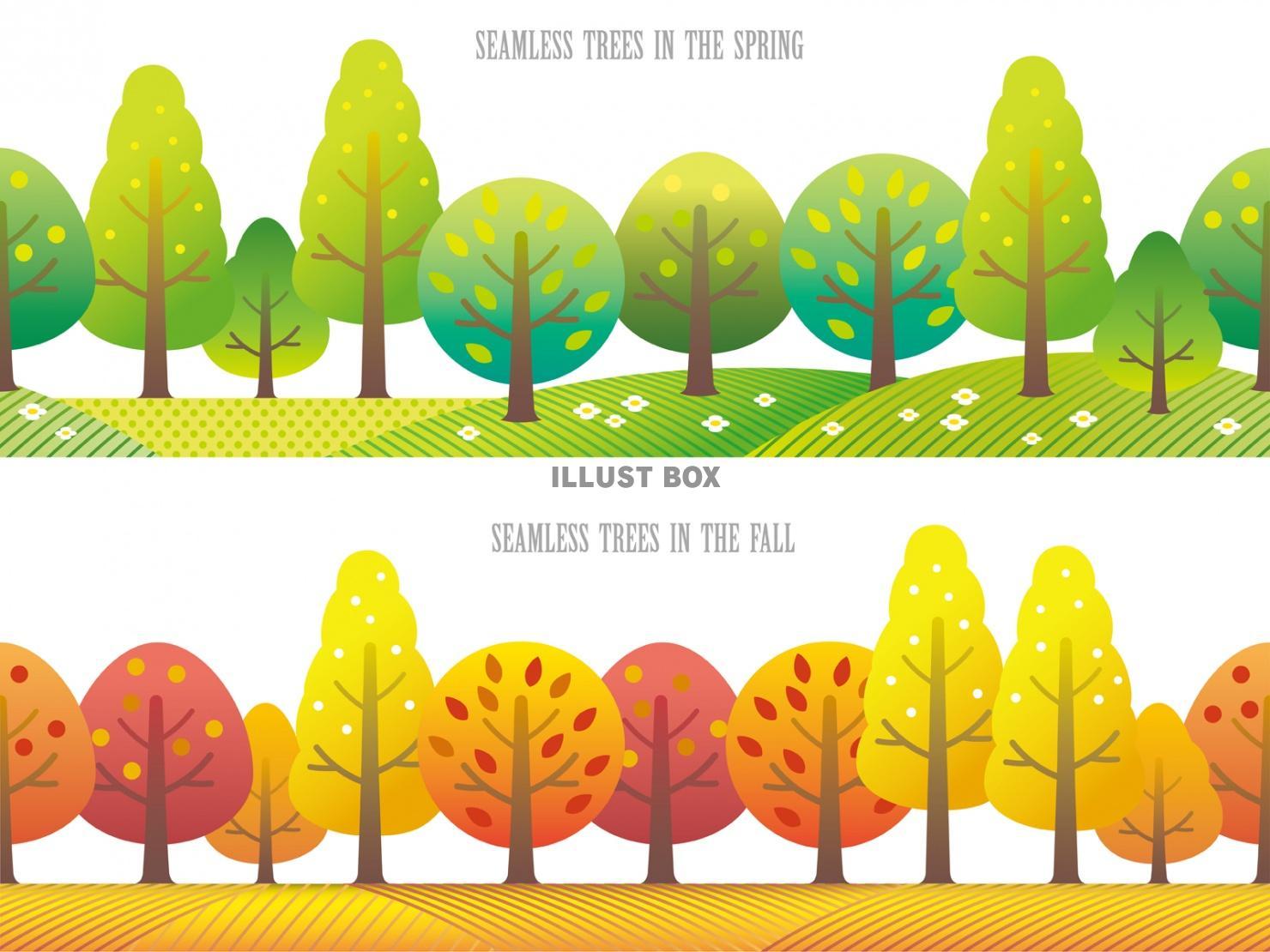 無料イラスト シームレスな四季の森 春と秋のセット