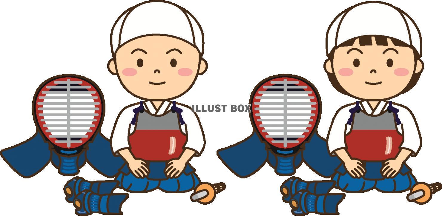 無料イラスト 子供の剣道3