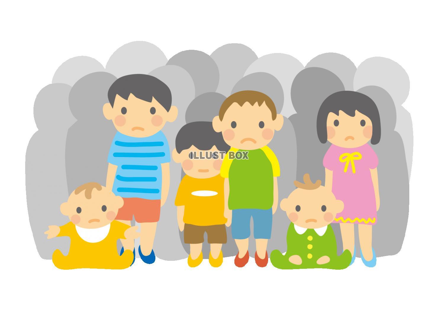 無料イラスト 待機児童幼児子供赤ちゃん困った顔並ぶ