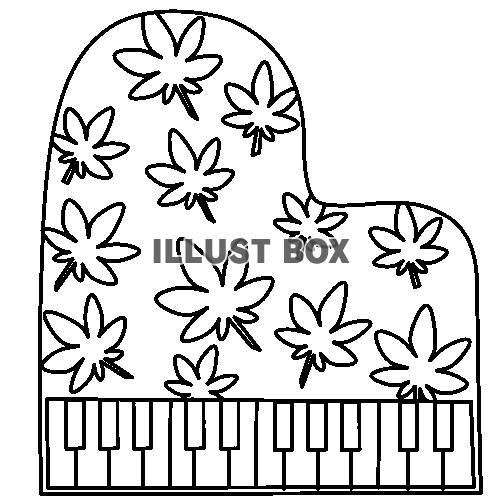 無料イラスト 紅葉のピアノ 塗り絵
