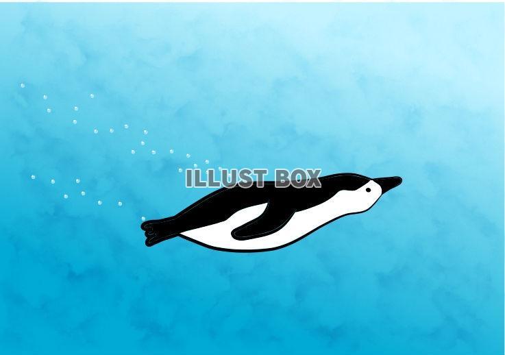 無料イラスト 泳ぐペンギンさん