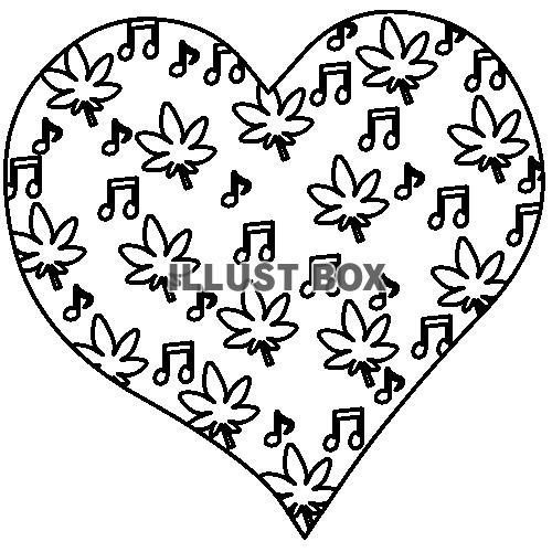 無料イラスト 秋の音楽 ハート 塗り絵