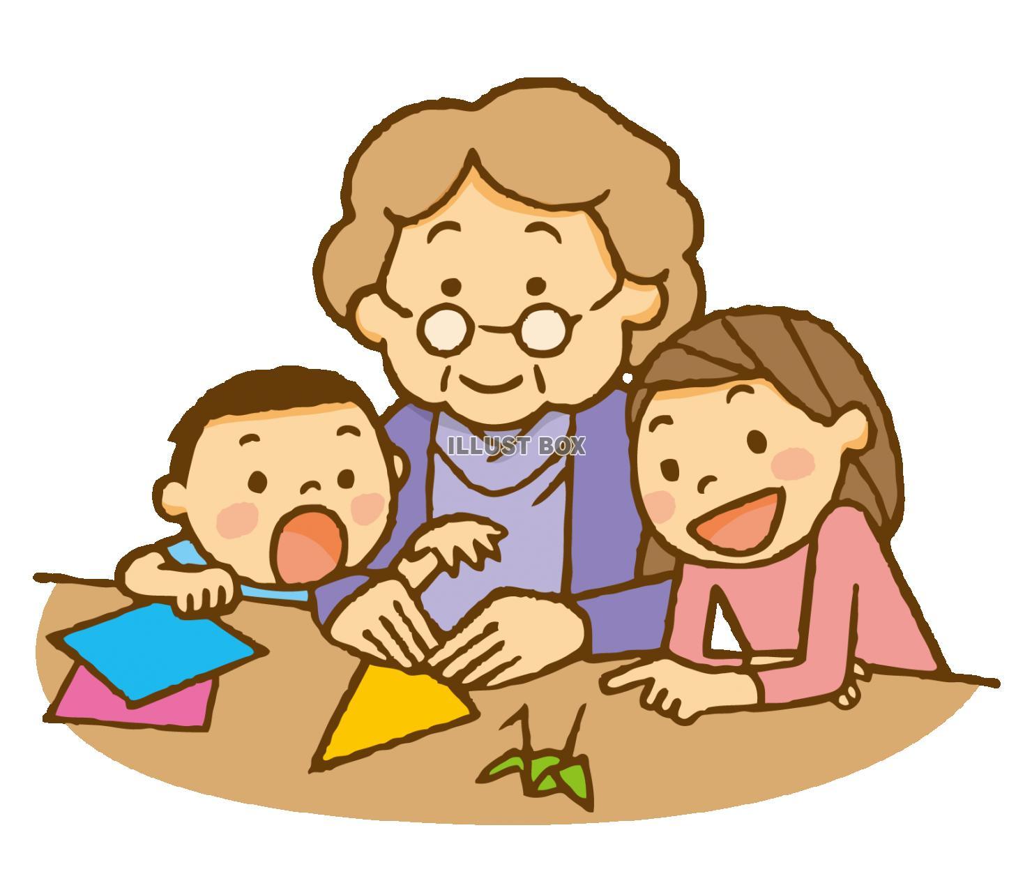 無料イラスト 敬老の日おばあちゃんと孫で折紙遊び子ども折り鶴兄弟団らん