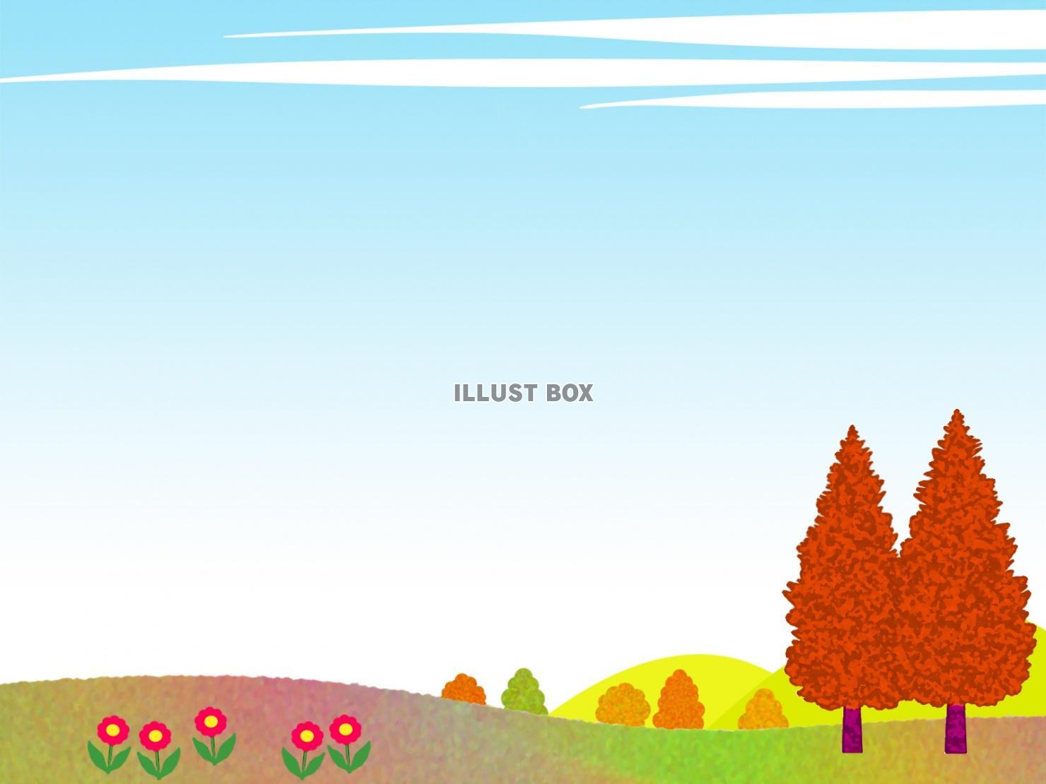 無料イラスト 秋の風景フレーム