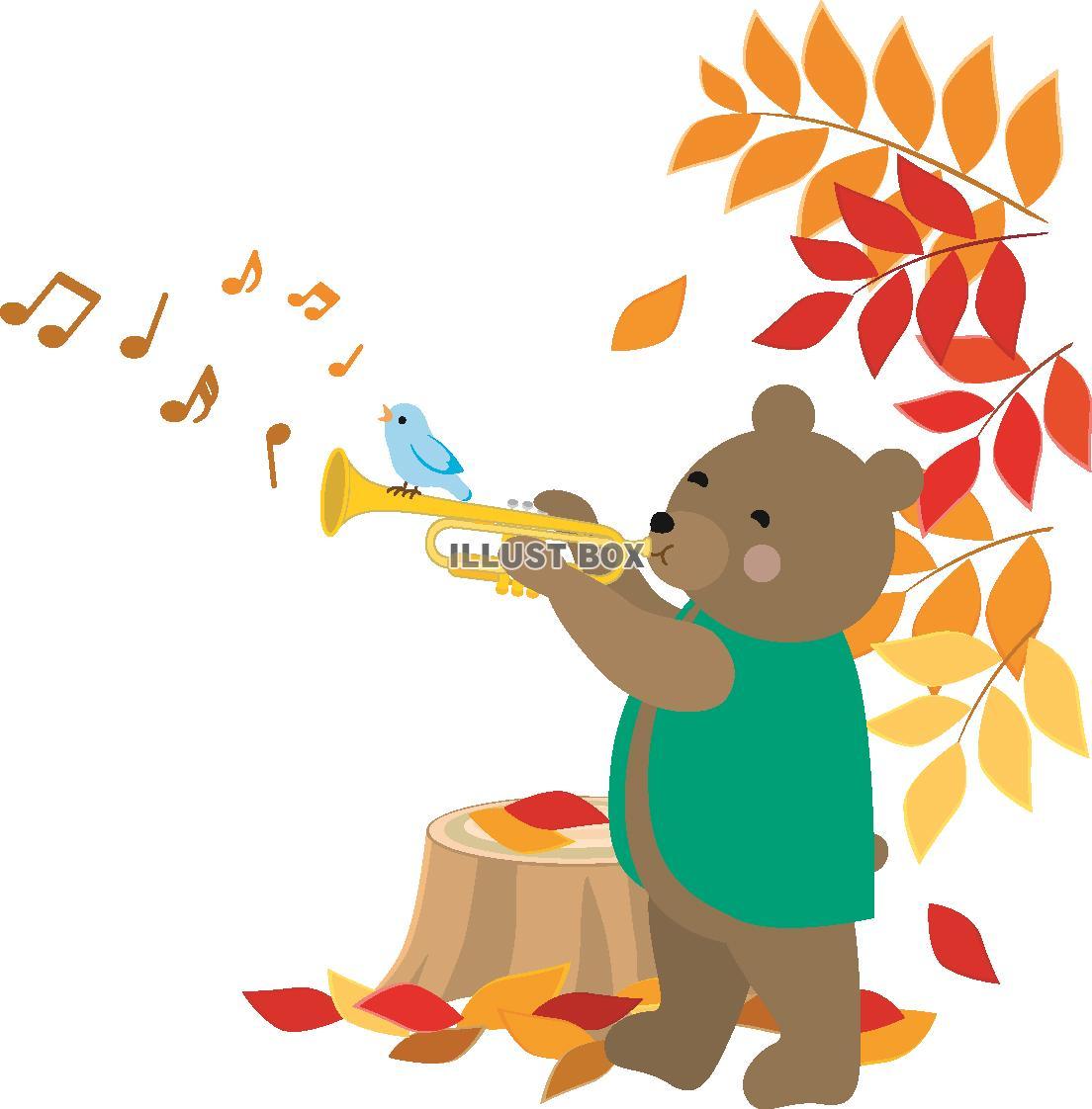 無料イラスト 秋の森の動物の音楽会3