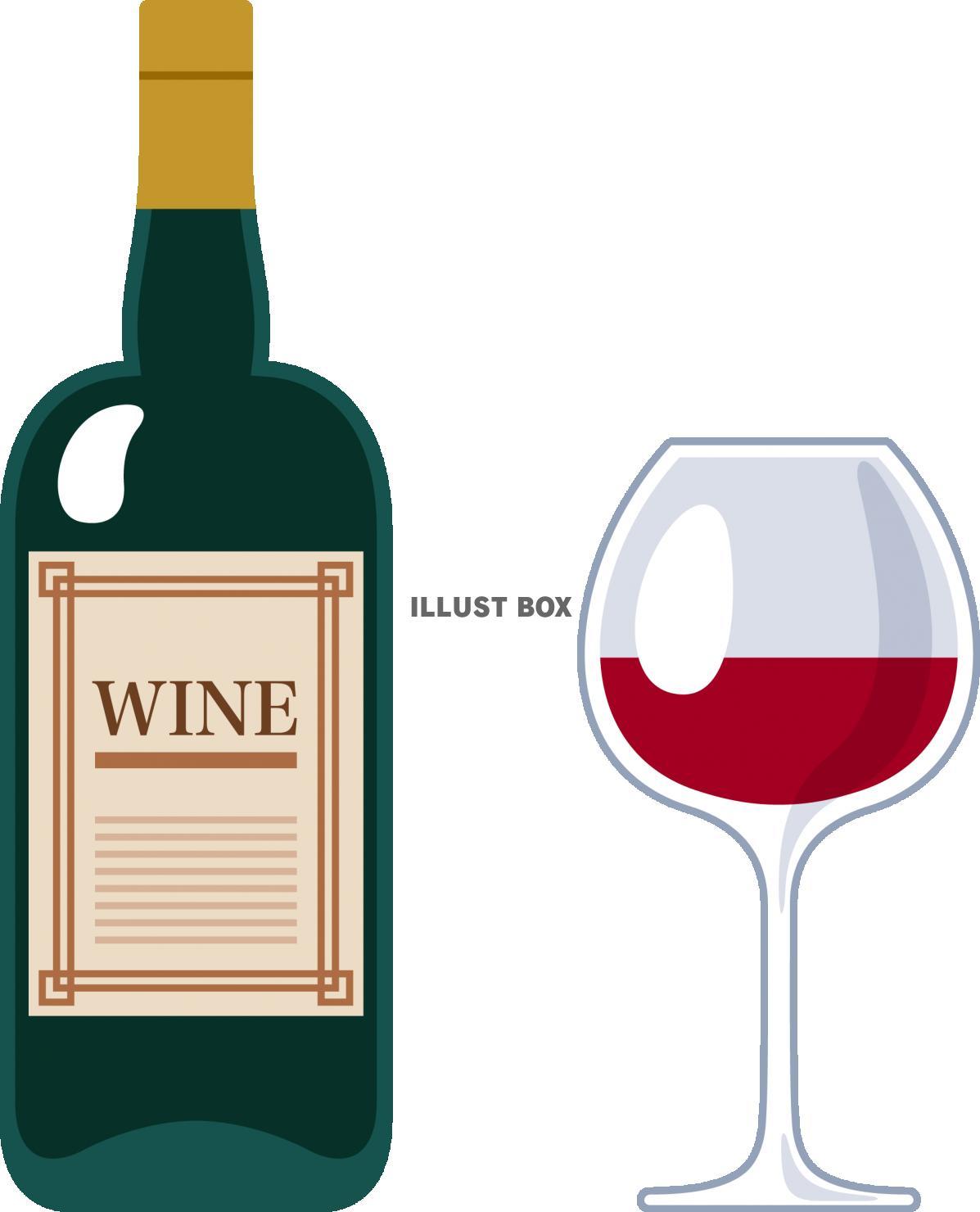 無料イラスト ワインとワイングラス