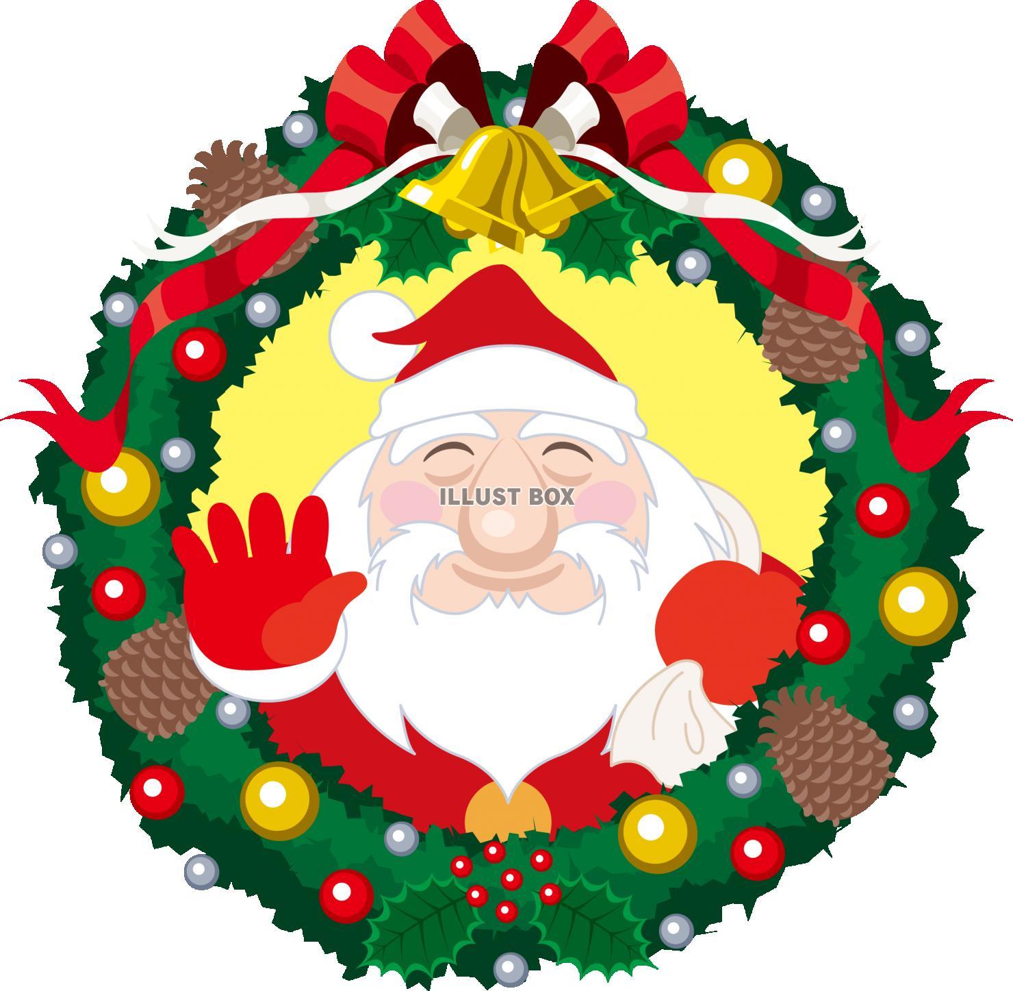無料イラスト サンタクロース クリスマスリース