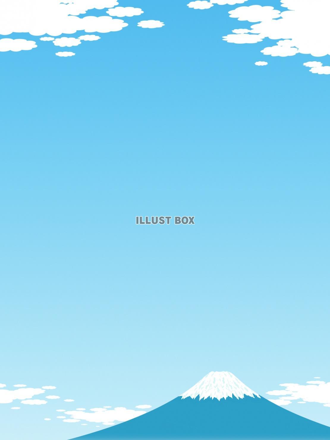 無料イラスト 空と富士山のフレーム