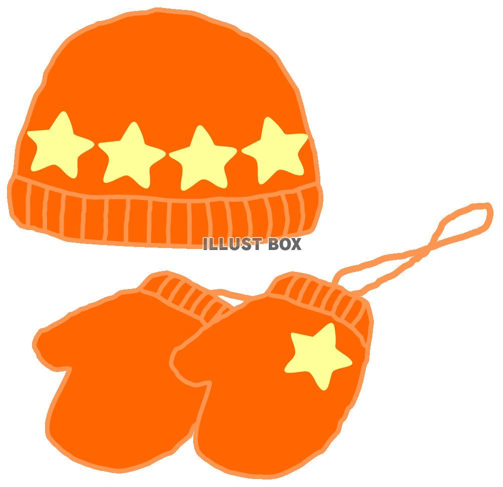 無料イラスト 赤い毛糸の帽子とミトン