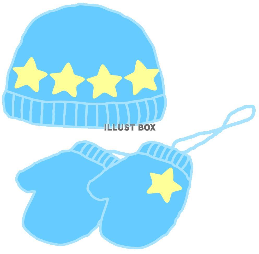 無料イラスト 青い毛糸の帽子とミトン