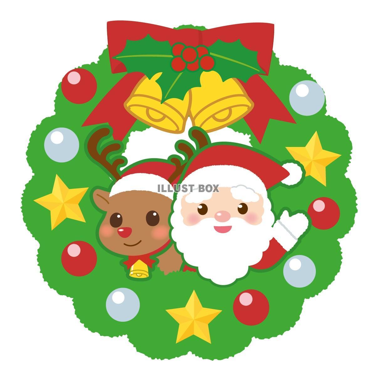 無料イラスト クリスマスリース サンタとトナカイ