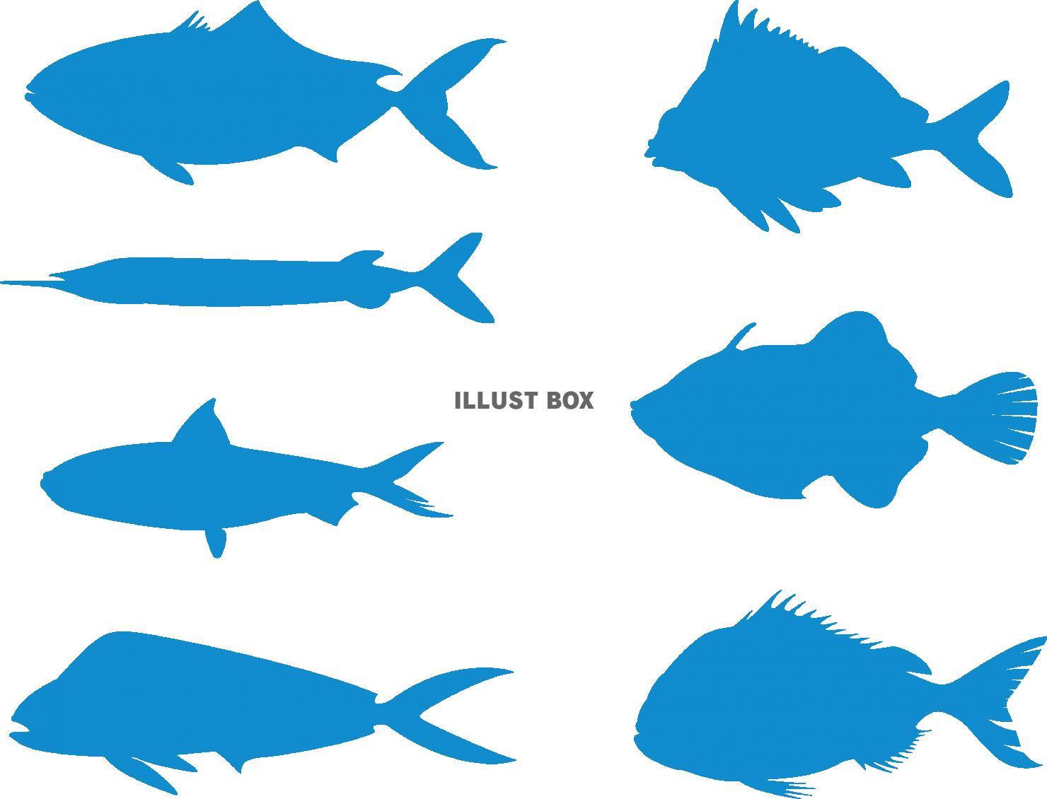 無料イラスト 魚のシルエット セット ブルー