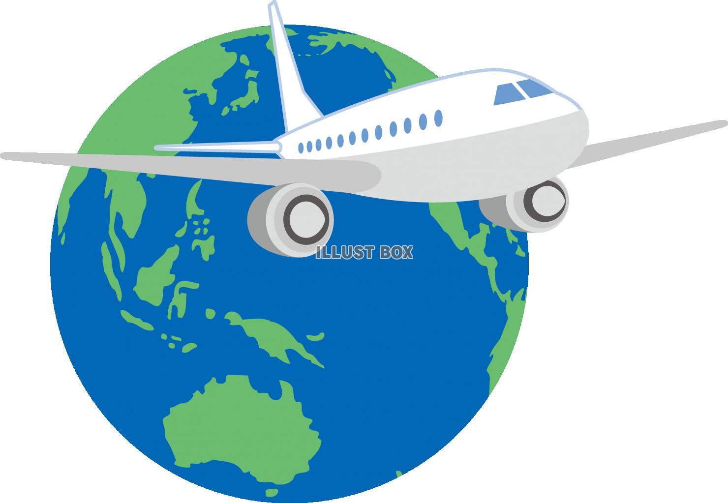 無料イラスト 地球 飛行機 ジェット機