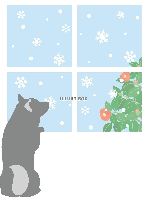 無料イラスト 冬の窓際の犬