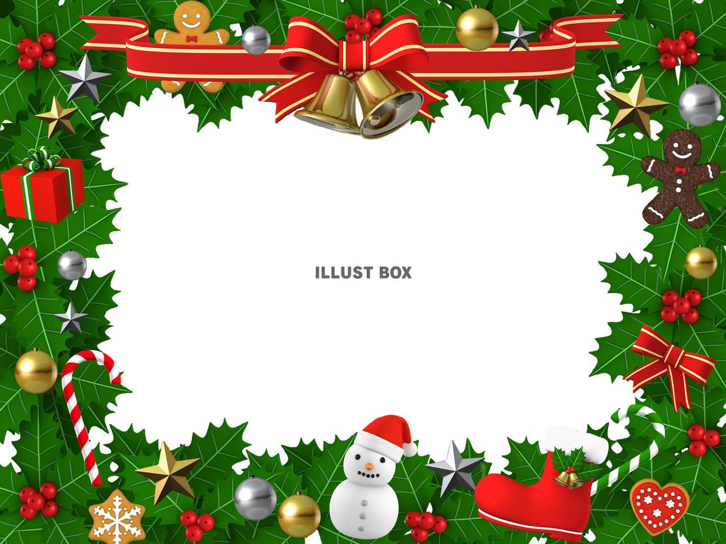 無料イラスト 楽しいクリスマスフレーム 3dイラスト01