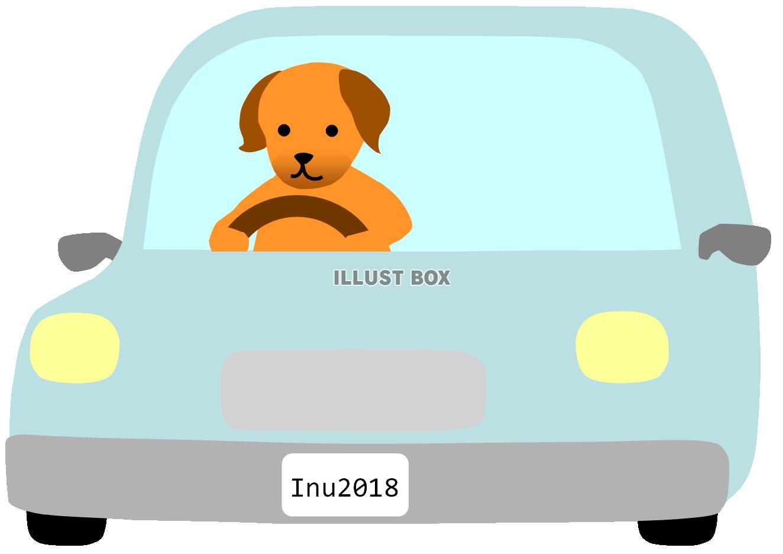 無料イラスト 車に乗っている犬2