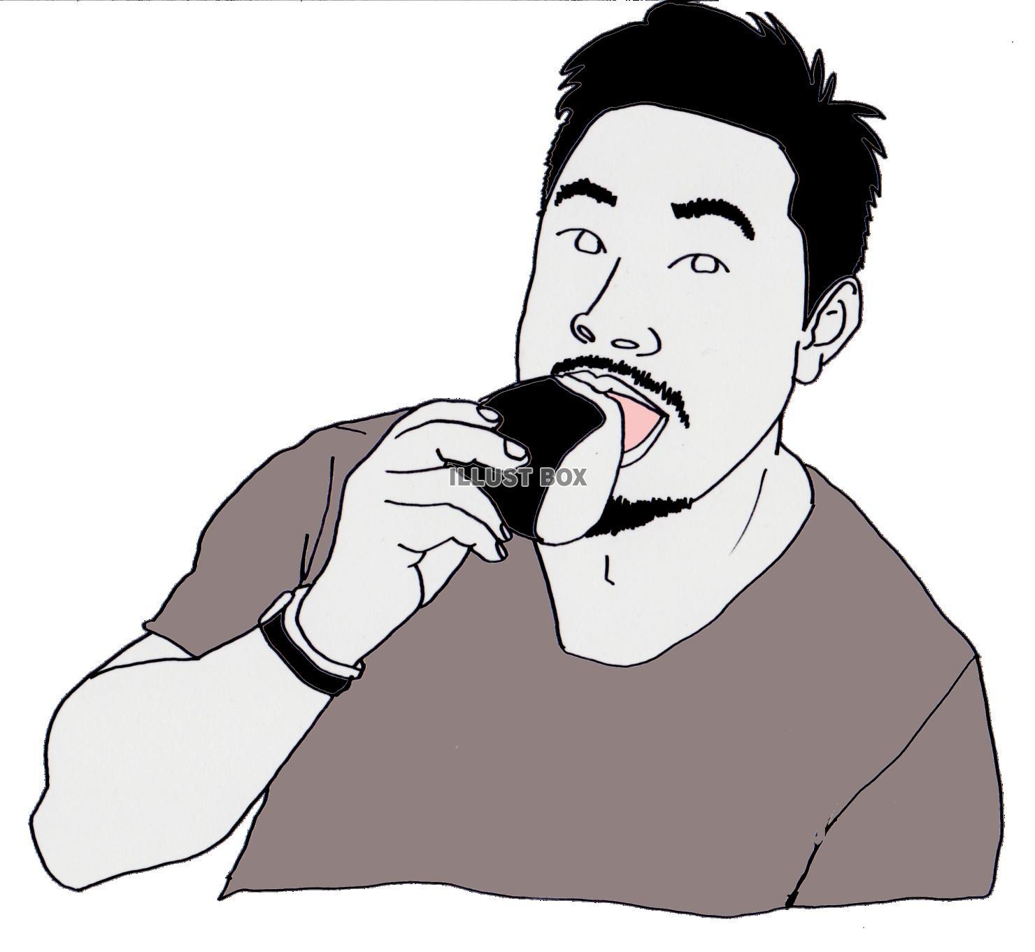無料イラスト おにぎりを食べる