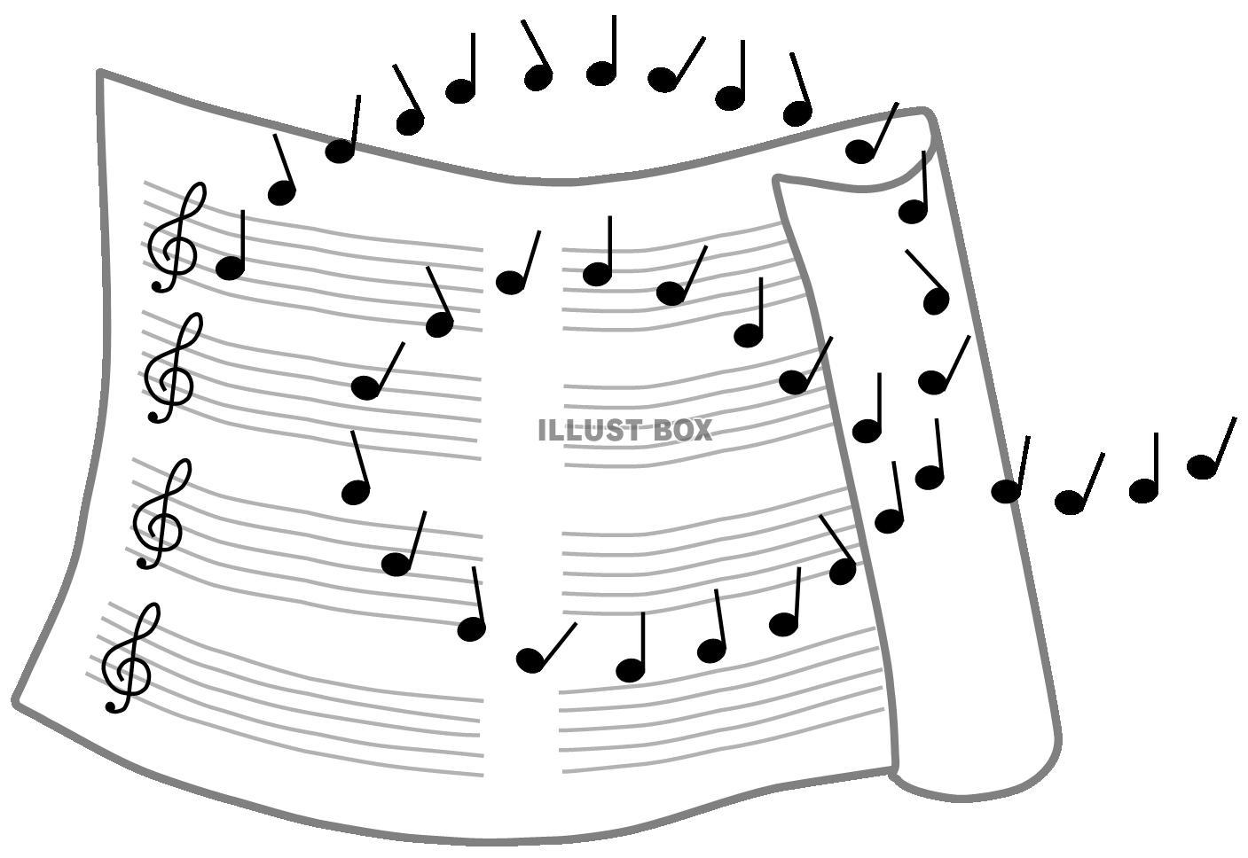 無料イラスト 楽譜と音符1