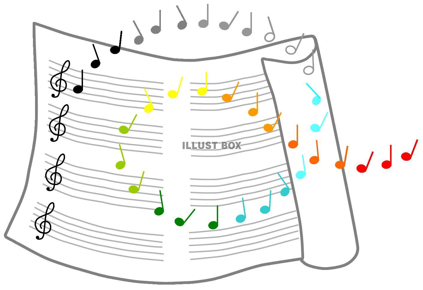 無料イラスト 楽譜と音符2