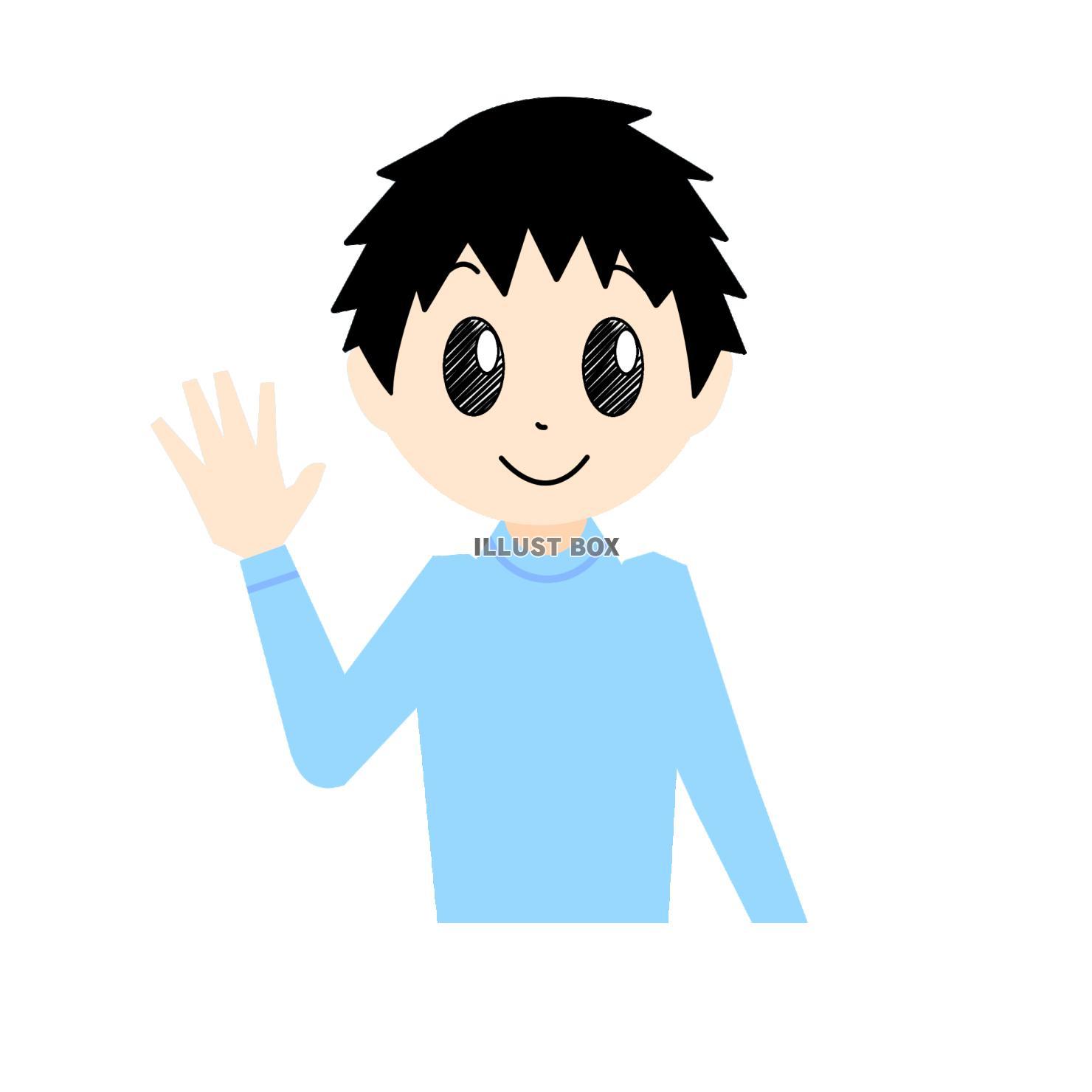 無料イラスト 笑顔で手を振る男性①