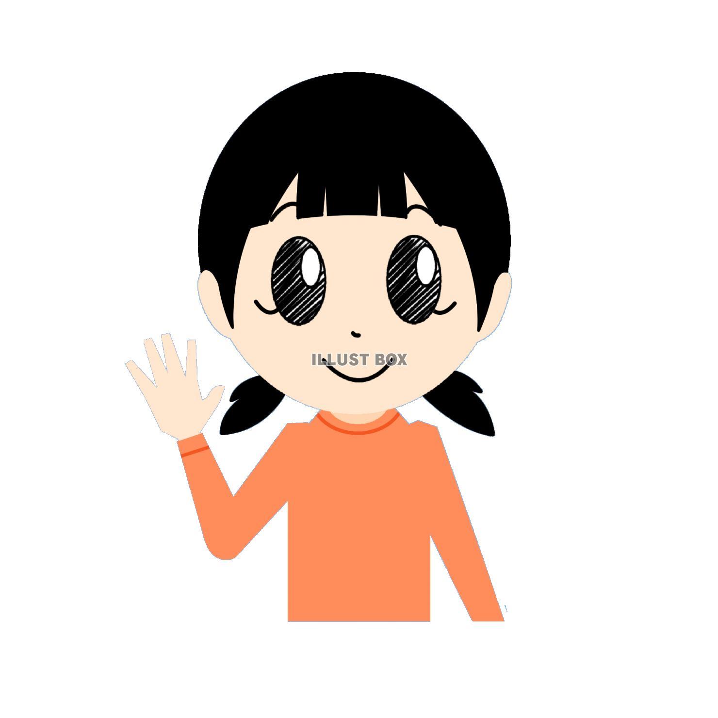 無料イラスト 笑顔で手を振る女の子①