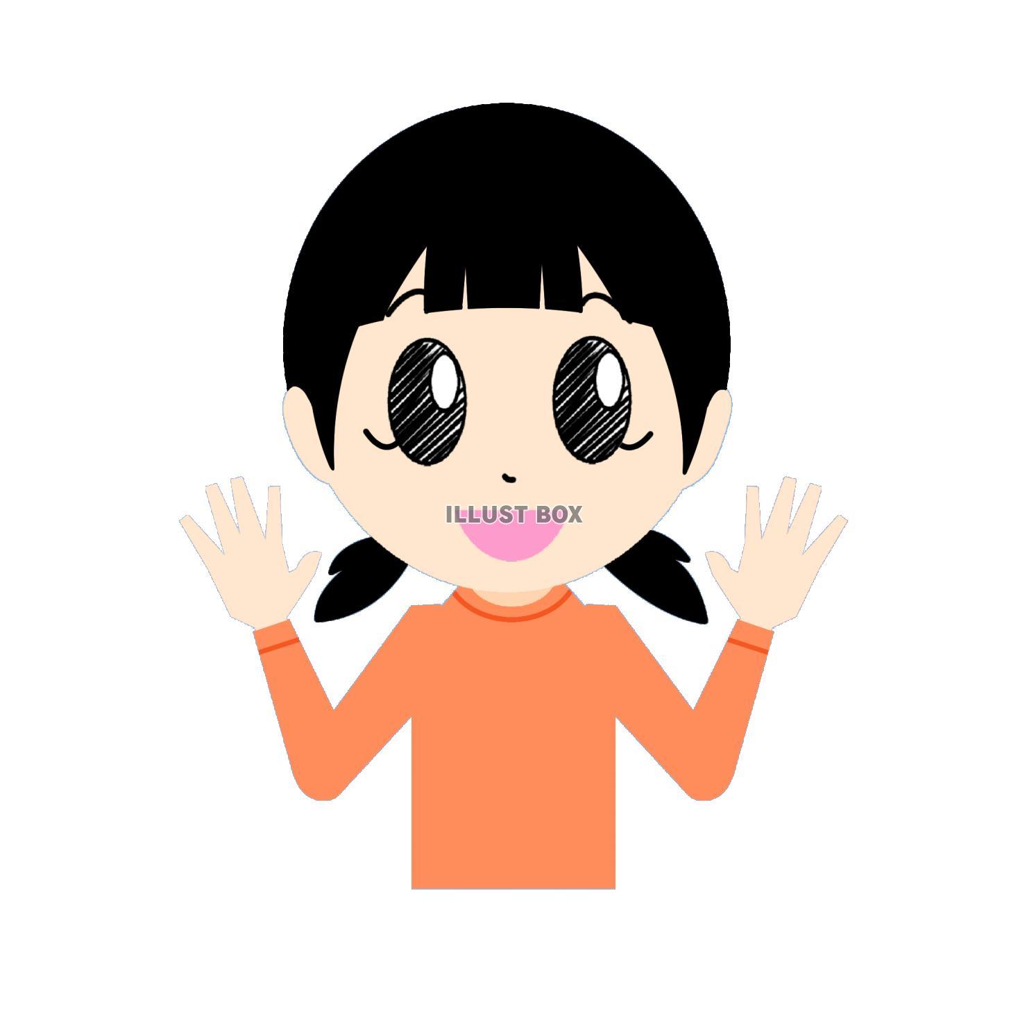 無料イラスト 笑顔で手を振る女の子②
