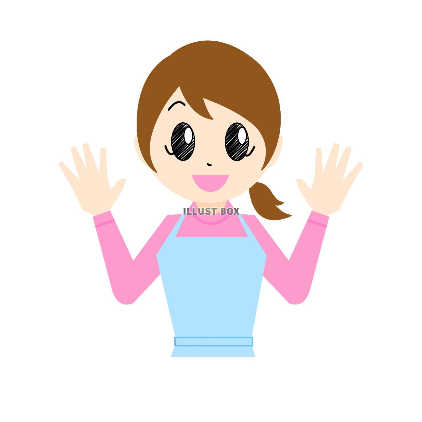 無料イラスト 笑顔で手を振るエプロン姿の女性・母親②