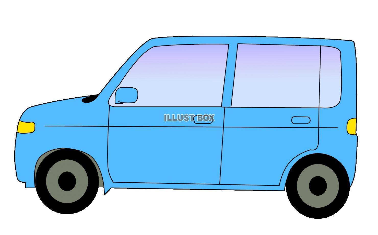 無料イラスト 青い車
