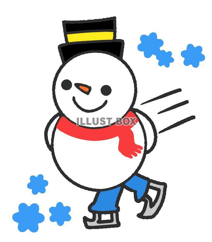 無料イラスト フィギュアスケートをする雪だるま 透過png