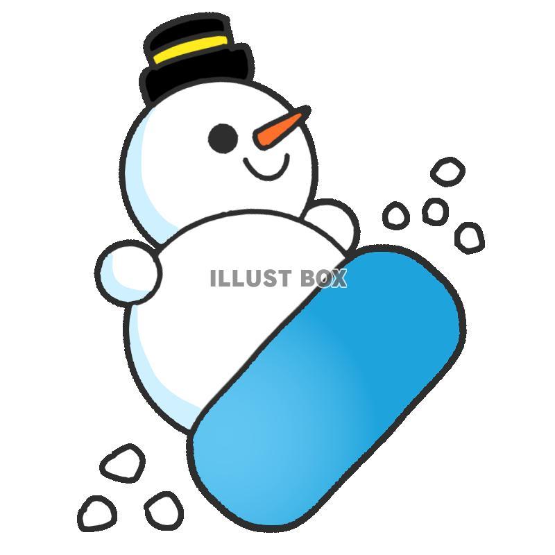 無料イラスト スノボをする雪だるま 透過png