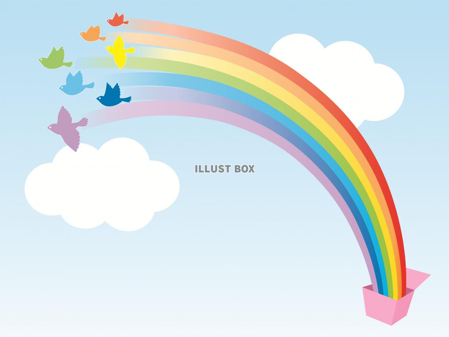 無料イラスト 箱から飛び立つ虹色の鳥たちのイラスト背景あり